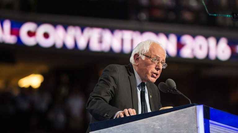 Bernie Sanders addresses the Democratic National Convention in Philadelphia on Monday