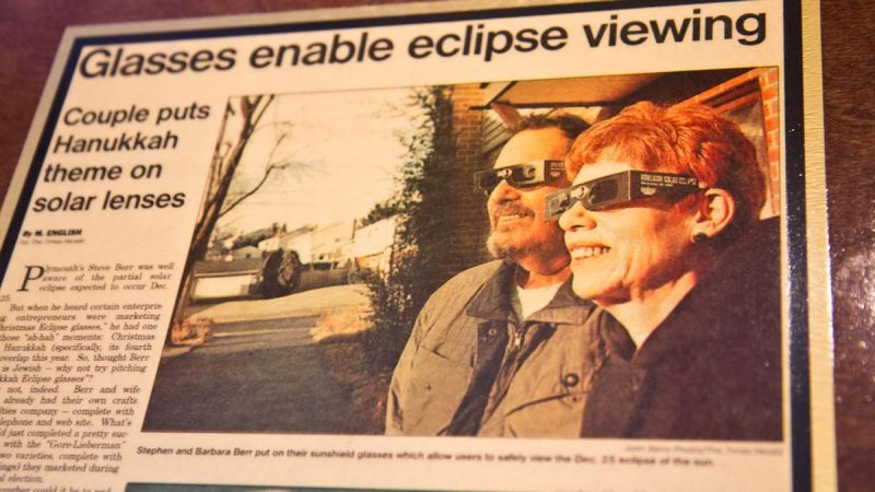 Stephen Berr and his wife, Barbara, were featured in the Times Herald as solar eclipse chasers. (Kimberly Paynter/WHYY)