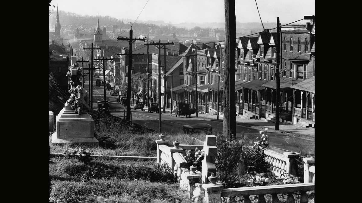 A view of South Bethlehem from St. Michael's Cemetery.  Photograph by Walker Evans circa November 1935.  (Library of Congress)