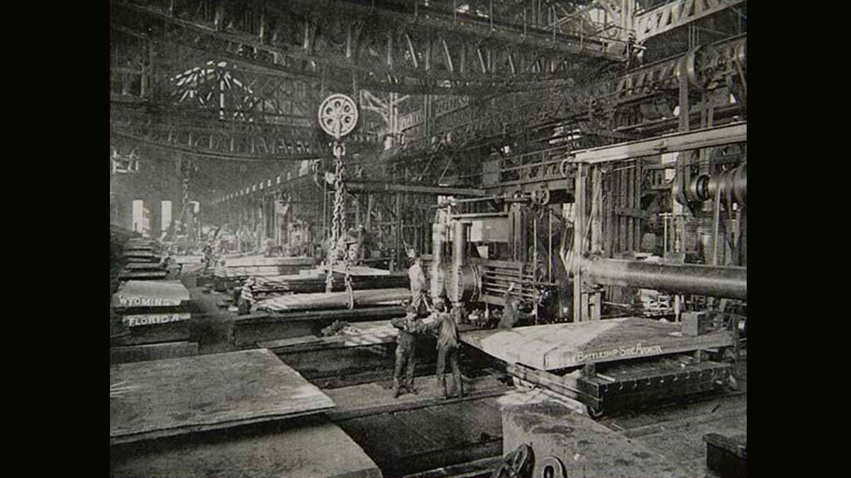 Employees of Bethlehem Steel Co. manufacture armor plates at the plant.  (Image courtesy of the Historical Society of Pennsylvania)