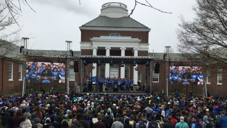 Hundreds turned out for the Biden is Back rally at the University of Delaware in Newark on Friday afternoon. (Paul Parmelee/WHYY)