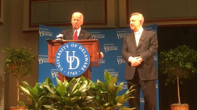 Biden speaks at the University of Delaware along side UD Pres. Dennis Assanis. (Zoë Read/WHYY)