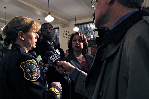 <p>Wilmington Police Chief Christine Dunning answers questions about the shootings at New Castle County Courthouse after attending a roundtable discussion on gun safety with Vice President Joe Biden in Philadelphia. (Emma Lee/for NewsWorks)</p>