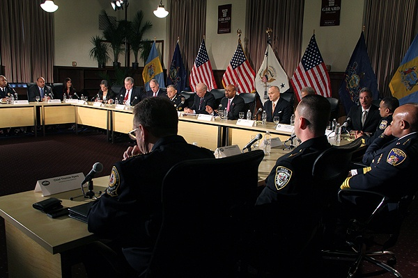 <p>Vice President Joe Biden meets with elected representatives and law enforcement officials to discuss gun control at Girard College. (Emma Lee/for NewsWorks)</p>