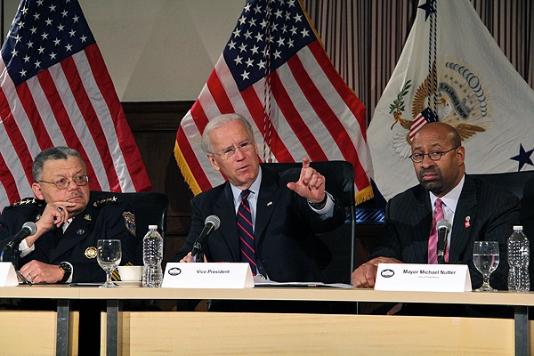 <p>Flanked by Philadelphia Police Chief Charles Ramsey and Mayor Michael Nutter, Vice President Joe Biden speaks about gun safety at Girard College. (Emma Lee/for NewsWorks)</p>