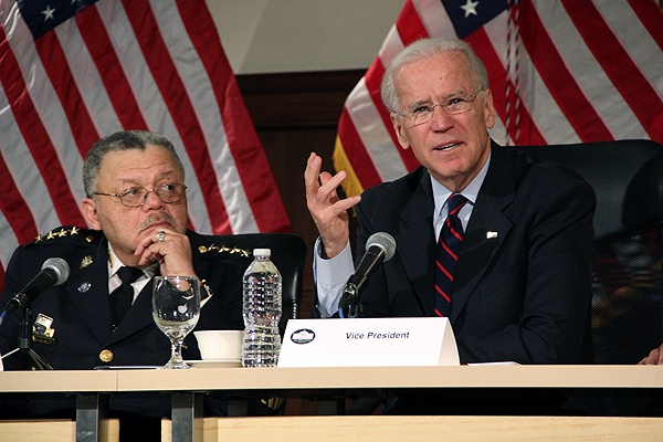 <p>With Philadelphia Police Chief Charles Ramsey looking on, Vice President Joe Biden suggest what could be done to curb gun violence during a press conference at Girard College. (Emma Lee/for NewsWorks)</p>