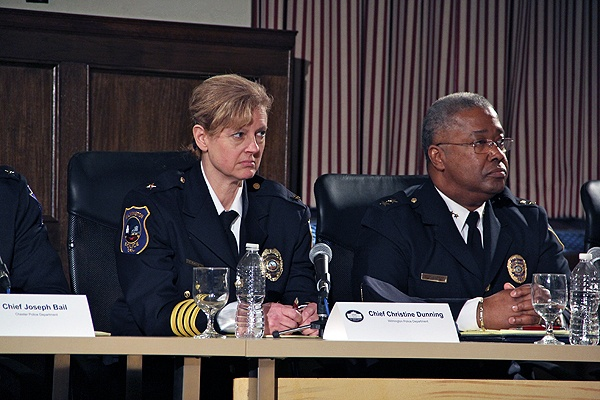 <p>Wilmington Police Chief Christine Dunning sits on a gun safety panel with Vice President Joe Biden in Philadelphia while her force deals with a fatal shooting at the New Castle County courthouse. Beside her is Atlantic City Police Chief Ernest Jubilee. (Emma Lee/for NewsWorks)</p>
