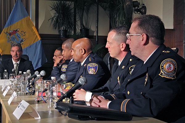 <p>Police chiefs from around the Philadelphia area participate in a discussion on gun safety with Vice President Joe Biden. (Emma Lee/for NewsWorks)</p>