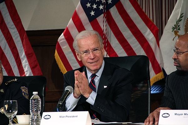 <p>Vice President Joe Biden makes a plea for gun control during a meeting with law enforcement officials at Girard College. (Emma Lee/for NewsWorks)</p>