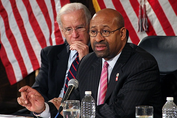 <p>Mayor Michael Nutter speaks about gun control during a press conference with Vice President Joe Biden and law enforcement officials at Girard College. (Emma Lee/for NewsWorks)</p>