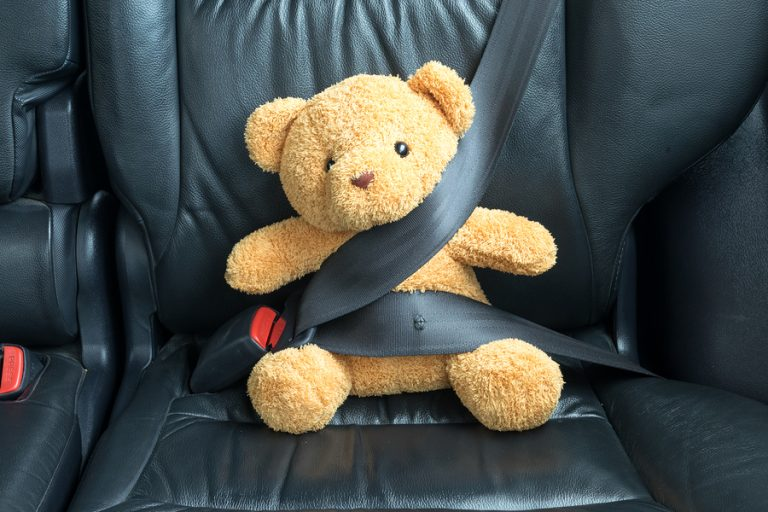 (<a href='https://www.bigstockphoto.com/image-147498020/stock-photo-teddy-bear-fastened-in-the-back-seat-of-a-car'>zenstock</a>/Big Stock Photo)
