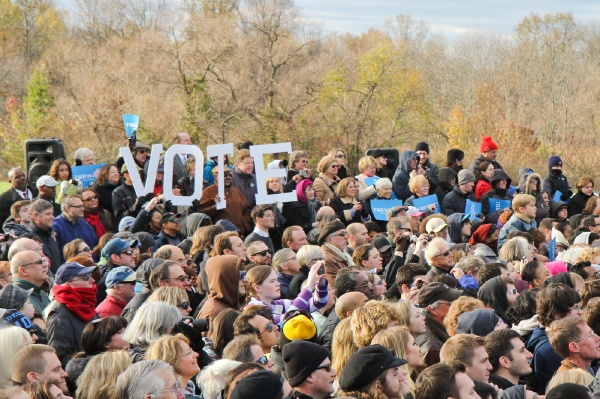 <p>Speakers at an Obama Rally at Montgomery Community College encouraged supporters to get their friends and familys to vote. (Kimberly Paynter/for NewsWorks)</p>