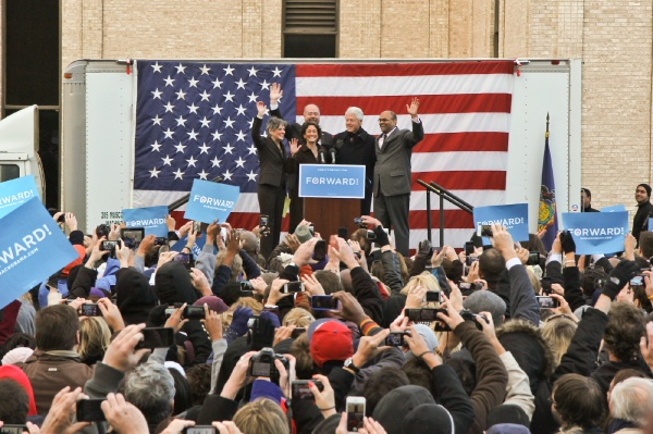 <p>The Montgomery County Democratic ticket poses with former President Bill Clinton. (Kimberly Paynter/for NewsWorks)</p>