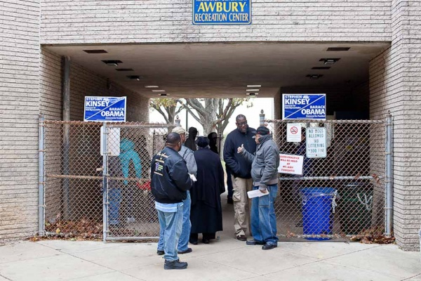 <p><p>Voters line up outside the Awbury Recreation Center in Germantown Tuesday Morning. (Brad Larrison/For NewsWorks)</p></p>