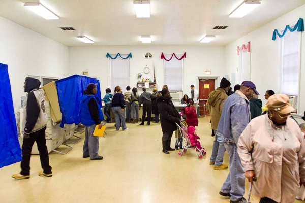 <p><p>Voters filled Morton Homes polling place Tuesday morning. (Brad Larrison/For NewsWorks)</p></p>