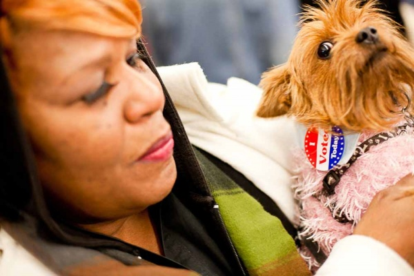 <p><p>Dorthea Sanchez, along with her dog, Bella, cast a ballot at the Awbury Recreation Center in Germantown Tuesday morning. (Brad Larrison/For NewsWorks)</p></p>