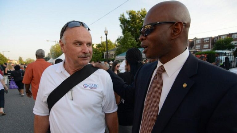 OARC CEO Jack Kitchen and State Rep. Stephen Kinsey at Thursday's Night Market in West Oak Lane. (Bas Slabbers/for NewsWorks)