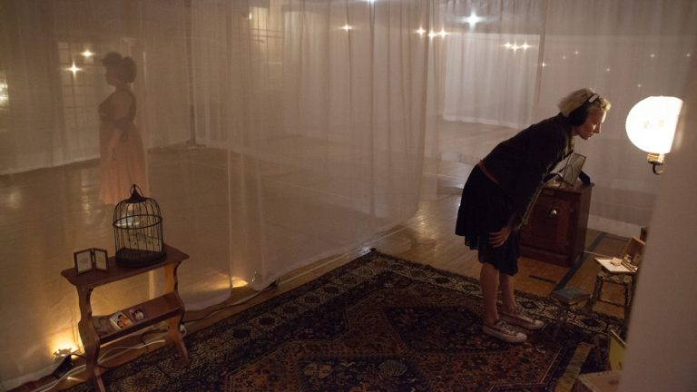''The Garden of Forking Paths'' is a movement and sound installation that leads audience members via audio prompts on a headset through a fabric labyrinth in the Bok building in South Philadelphia. (Nichole Canuso Dance Company)