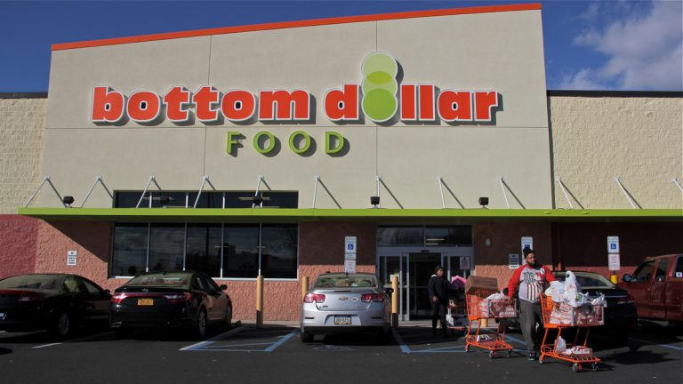 The grocery store at Chew Avenue and Washington Lane in Germantown opened 14 months ago. Bottom Dollar has announced that it will close along with all of its Philadelphia and Pittsburgh area stores. (Emma Lee/WHYY)