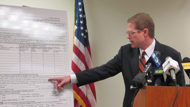 State Comptroller, Matt Boxer, reviews the evidence for the school lunch program fraud. (Phil Gregory/NewsWorks)