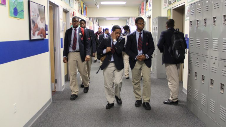Students at Boys Latin of Philadelphia Charter School are shown in 2013. (Emma Lee/WHYY, file)