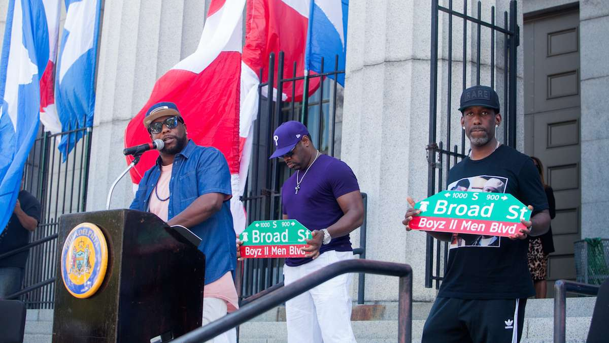 Boyz II Men with their newly unveiled Boyz II Men Boulevard signs in front of their alma mater the Philadelphia High School for Creative and Performing Arts.