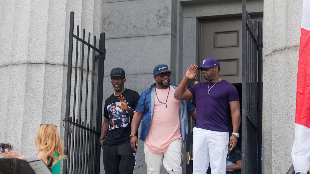 Boyz II Men exit their Alma Mater the Philadelphia High School for Creative and Performing Arts.