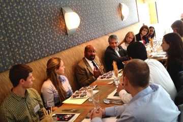 Mayor Michael Nutter meets with the 10 students over lunch. (Zack Seward/WHYY)