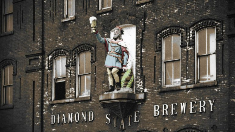 The Gambrinus statue as it appeared for nearly 100 years on the Diamond State Brewery building in Wilmington. (photo courtesy Restore the King/John Medkeff)