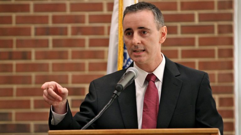 Like several of his GOP colleagues in Congress, U.S. Rep. Brian Fitzpatrick, R-Bucks, is trying to maintain some distance from President Donald Trump. (Emma Lee/WHYY)