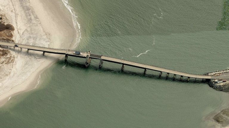 The damaged bridge connects Sea Isle City (left) to Avalon (right) in New Jersey. (Bing Maps image)