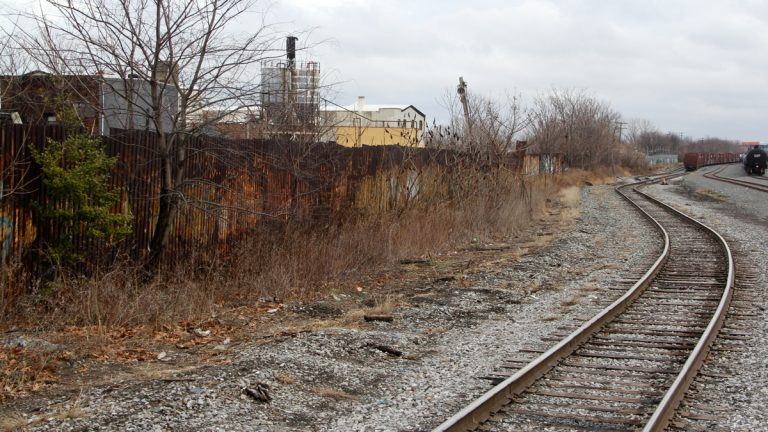 The project will include brownfield sites adjacent to the Lehigh Viaduct, a freight rail corridor located along Lehigh Avenue, between Kensington Avenue and I-95, with the main focus between Kensington Avenue and Tulip Street. (Emma Lee/WHYY)