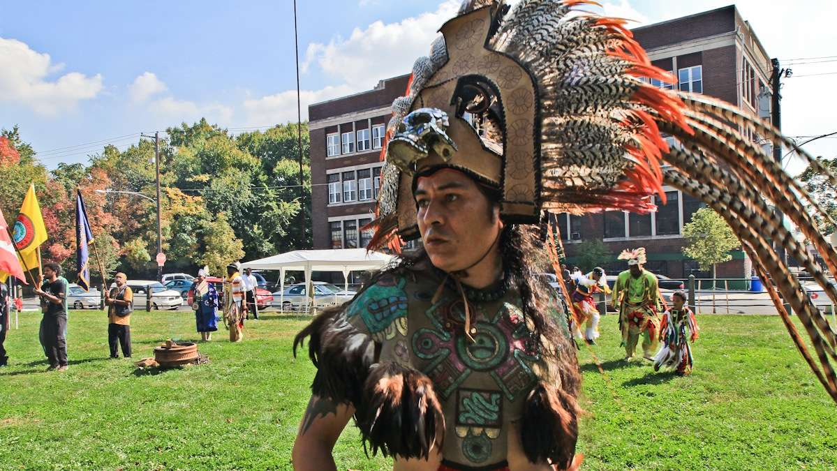 Brujo de la Mancha is the founder of Ollin Yoliztli Calmecac, which aims to bring indigenous culture and history to the Pa. community. Brujo dances in celebration of Indigenous Peoples Day in October of 2013.