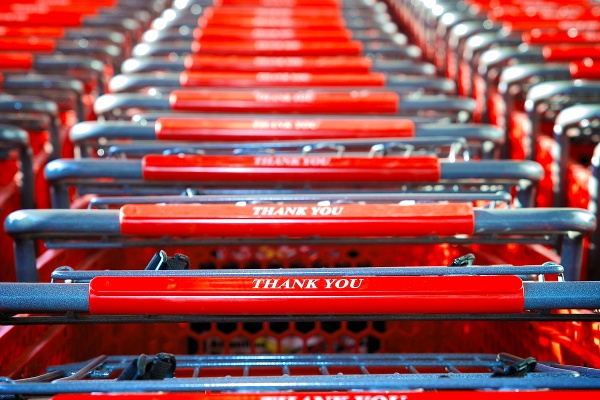 Save-A-Lots carts have a personal message for customers. (Bas Slabbers/for NewsWorks)