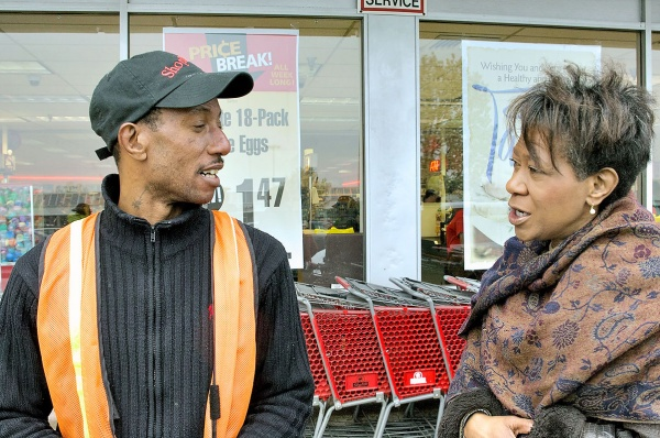 Rosita Youngblood made a stop at an Olney shopping center to connect with voters. (Bas Slabbers/for NewsWorks)