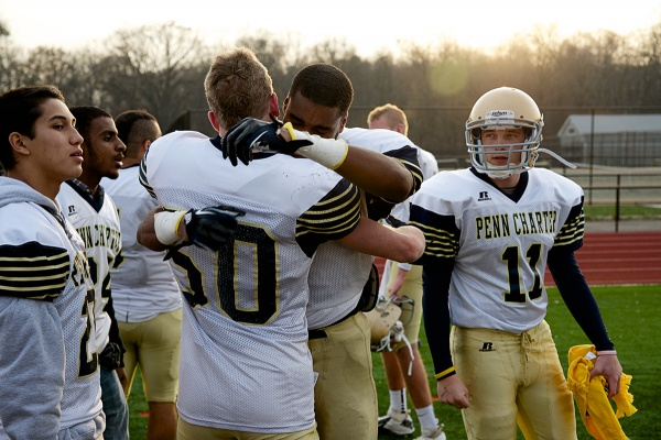 <p><p>Two Penn Charter players congratulate one another on the sideline. (Bas Slabbers/for NewsWorks)</p></p>