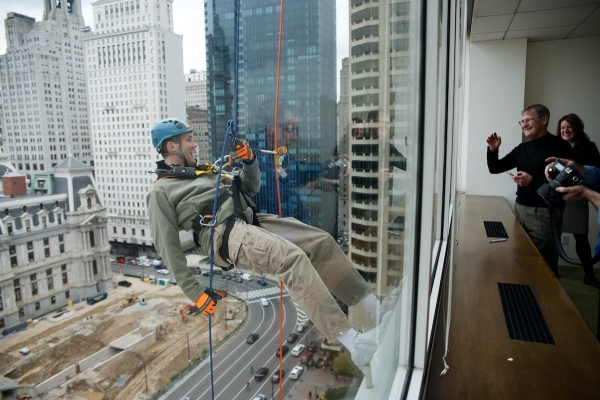 <p>&lt;p&gt;A window in an office on the 16th floor gives a good view of one rappeller. (Bas Slabbers/for NewsWorks)&lt;/p&gt;</p>