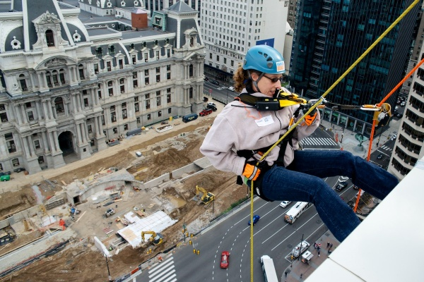 <p><p>About 70 daring Philadelphian's rappelled down a Center City building on Friday. (Bas Slabbers/for NewsWorks)</p></p>
