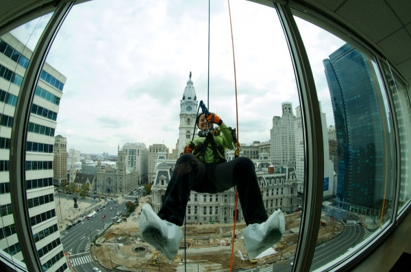 <p><p>Rappellers have to overcome the fear of descending the approximately 230-foot building. (Bas Slabbers/for NewsWorks)</p></p>