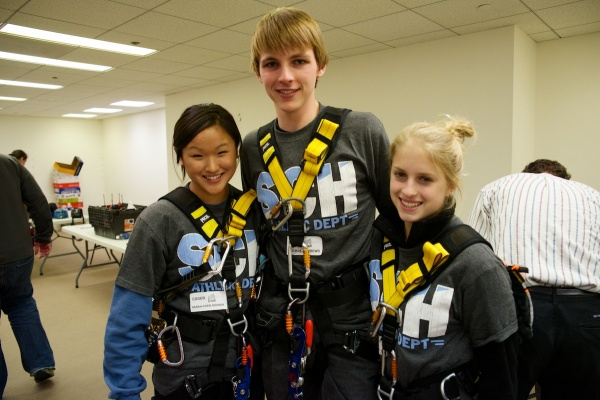 <p><p>Sarah-Chen Ogorek, Thomas Andrews and Sarrah Schreffler are three Springside Chestnut Hill Academy students that will rappell to raise money for Outward Bound Philadelphia. (Bas Slabbers/for NewsWorks)</p></p>