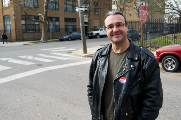 <p><p>Reverend Kirk T. Berlenbach smiles as he walks back to his home on Ridge Ave. after he voted at the nearby polling station. (Bas Slabbers/for NewsWorks) </p></p>