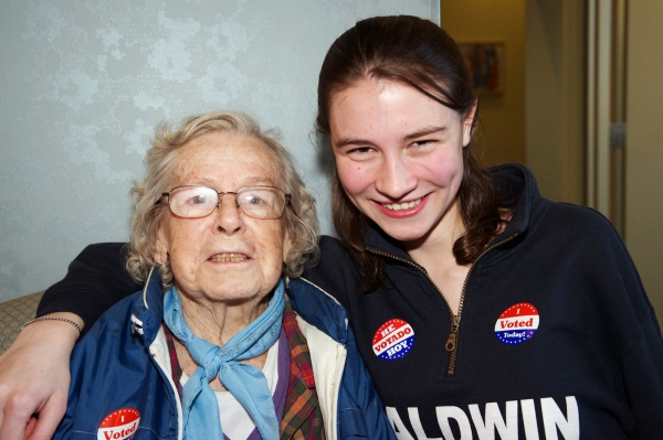<p><p>First time voter Kerisse Wink and her 89-year-old grandmother Pauline Wink went to the polls together. (Bas Slabbers/for NewsWorks)</p></p>