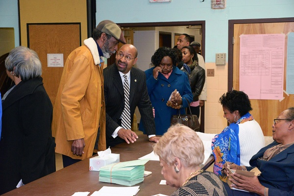 <p><p>Philadelphia Mayor Michael Nutter checked in to vote at the John Anderson Cultural Center on Overbrook Avenue just before 9 a.m. Tuesday. (Bas Slabbers/for NewsWorks)</p></p>