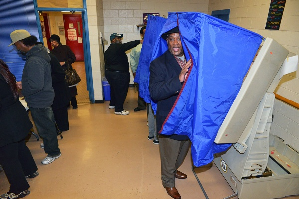 <p><p>State Rep. Dwight Evans votes at the Finley Recreation Center at 10 a.m. (Bas Slabbers/for NewsWorks)</p></p>