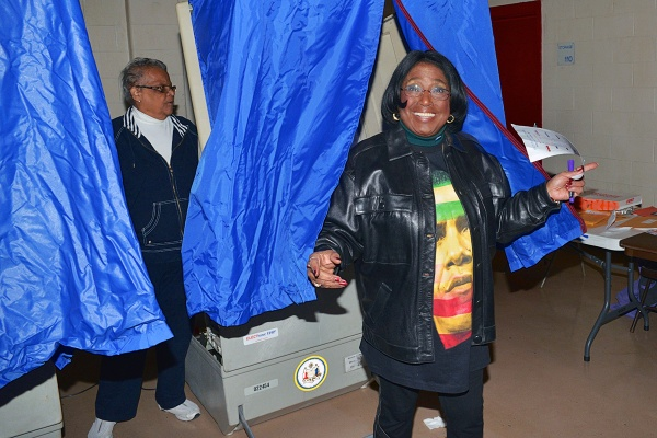 <p><p>Ninth district Councilwoman Marian B. Tasco walks out of the booth after voting at Finley Recreation Center at 10:30 a.m. (Bas Slabbers/for NewsWorks)</p></p>