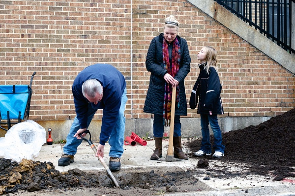 """<p><p>Third grade students Reagan and Dany Stacey tell NewsWorks """"it was nice to come out and plant the trees and have something to look forward to in the spring."""" (Bas Slabbers/for NewsWorks)</p></p>"""
