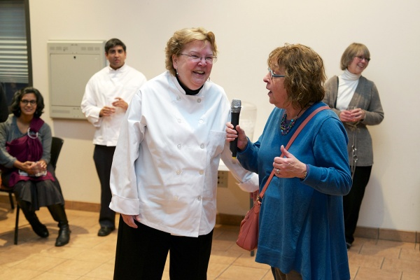 "<p><p>This year, the ""Platinum Spatula"" went to Jane Maloney, executive director of the Neighborhood Interfaith Movement. Maloney's dish was called Autumn Chicken. (Bas Slabbers/for NewsWorks)</p></p>"