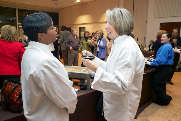 <p><p>Community chef Eighth District City Councilwoman Cindy Bass and Prof. Katie Day. (Bas Slabbers/for NewsWorks)</p></p>