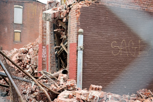 <p><p>The city began demolition work on the vacant building at 133 Berkley St. in early October.. (Bas Slabbers/for NewsWorks)</p></p>