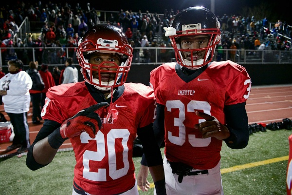 <p><p>Running backs Nasir Bonner and David Williams stop for a photo after their playoff win. (Bas Slabbers/for NewsWorks)</p></p>